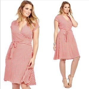 Leota Perfect Wrap Dress In Gingham Raspberry